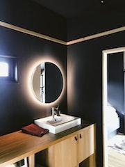 Back lighted bathroom mirror